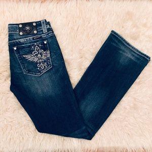 Miss Me Embellished Fleur de Lis Boot Jeans